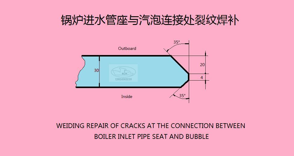 锅炉进水管座与汽泡链接处裂纹焊补
